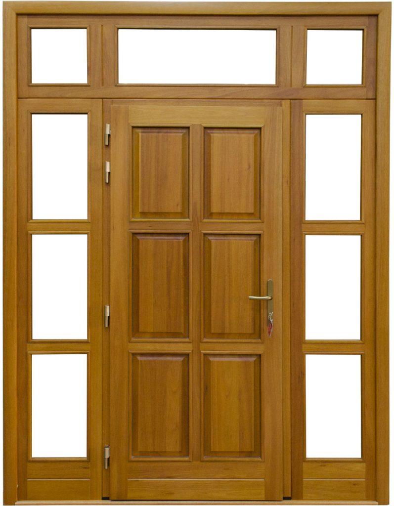 Usa de exterior din lemn stratificat cu geam si luminator model AE10-2